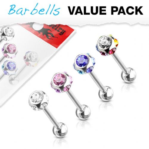 4 Pack of Assorted Colour Barbells with Gem Tops